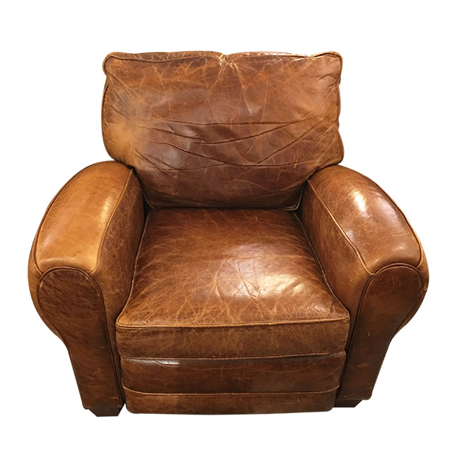 Barcalounger Brown Distressed Leather Recliner Design