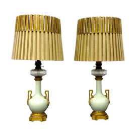 Antique Gilded Heather & Co Lamps - A Pair