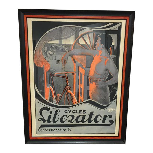 Vintage 4'x5' Framed Liberator Cycles Bicycle Poster By