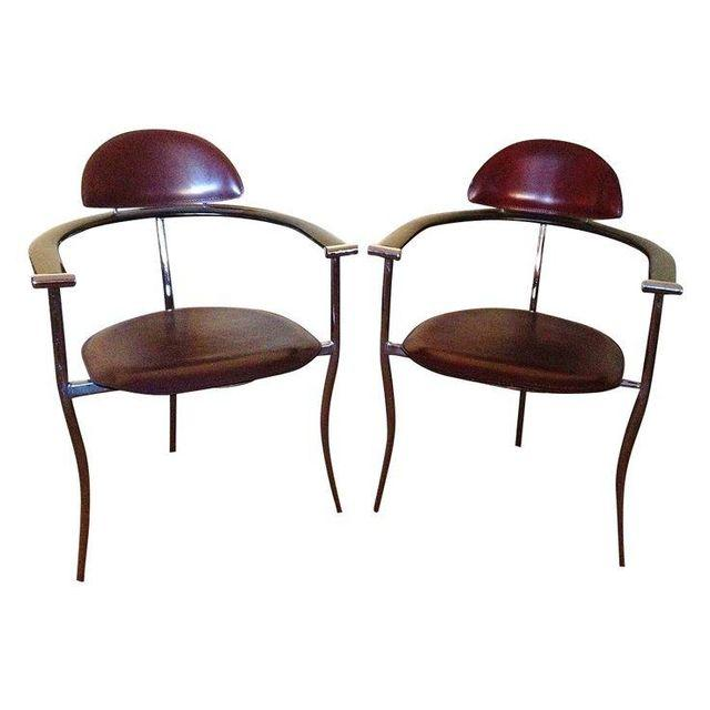Mid Century Stiletto Arrben Italian Leather Chairs Pair