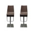 Adjustable Brown Leather Barstools, A Pair
