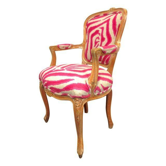 Vintage Pink Upholstered Zebra Print Chair Design Plus