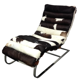 Todd Oldham Cowhide & Chrome Lounge Chair
