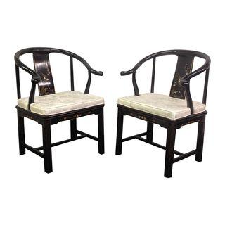 Black Lacquer Chinese Horseshoe Chairs, A Pair