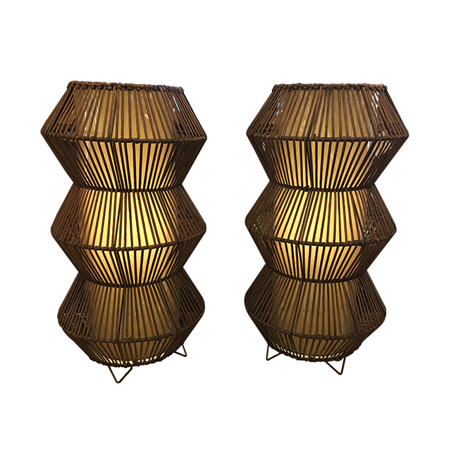 Pair Of Napa Home Wicker Table Lamps