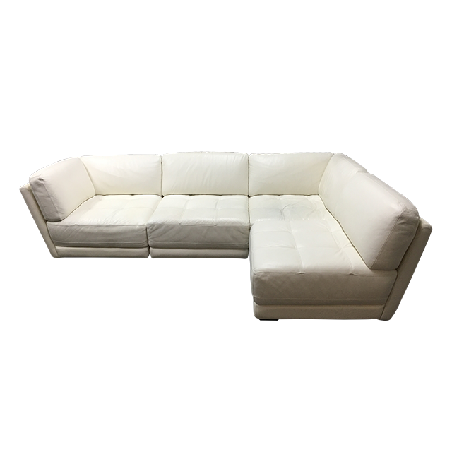 Chateau D Ax Four Piece Modular White Leather Sectional