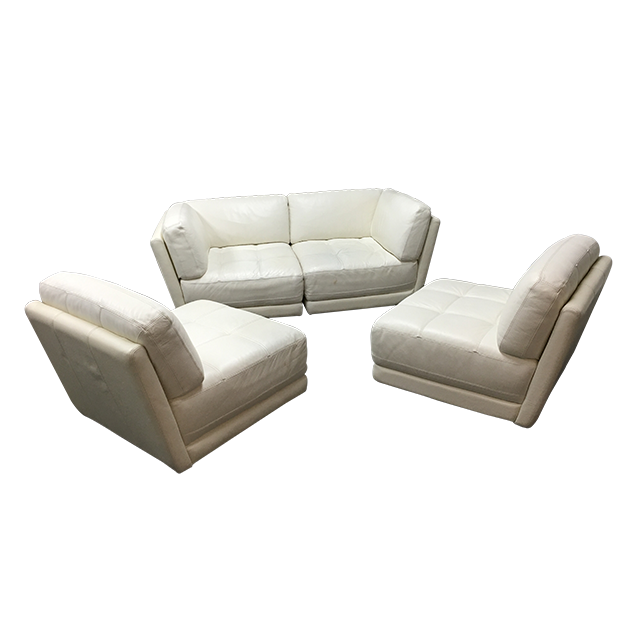 Chateau Du0026#39;ax - Four Piece Modular White Leather Sectional - Design Plus Gallery