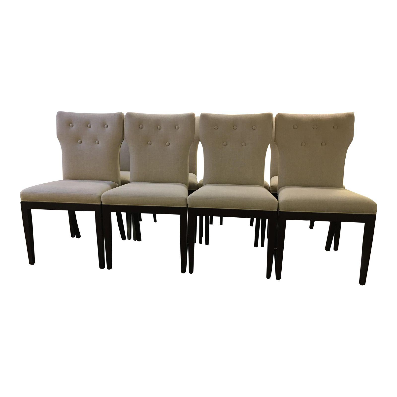 Set Of Eight Tufted Linen Dining Chairs Original Price