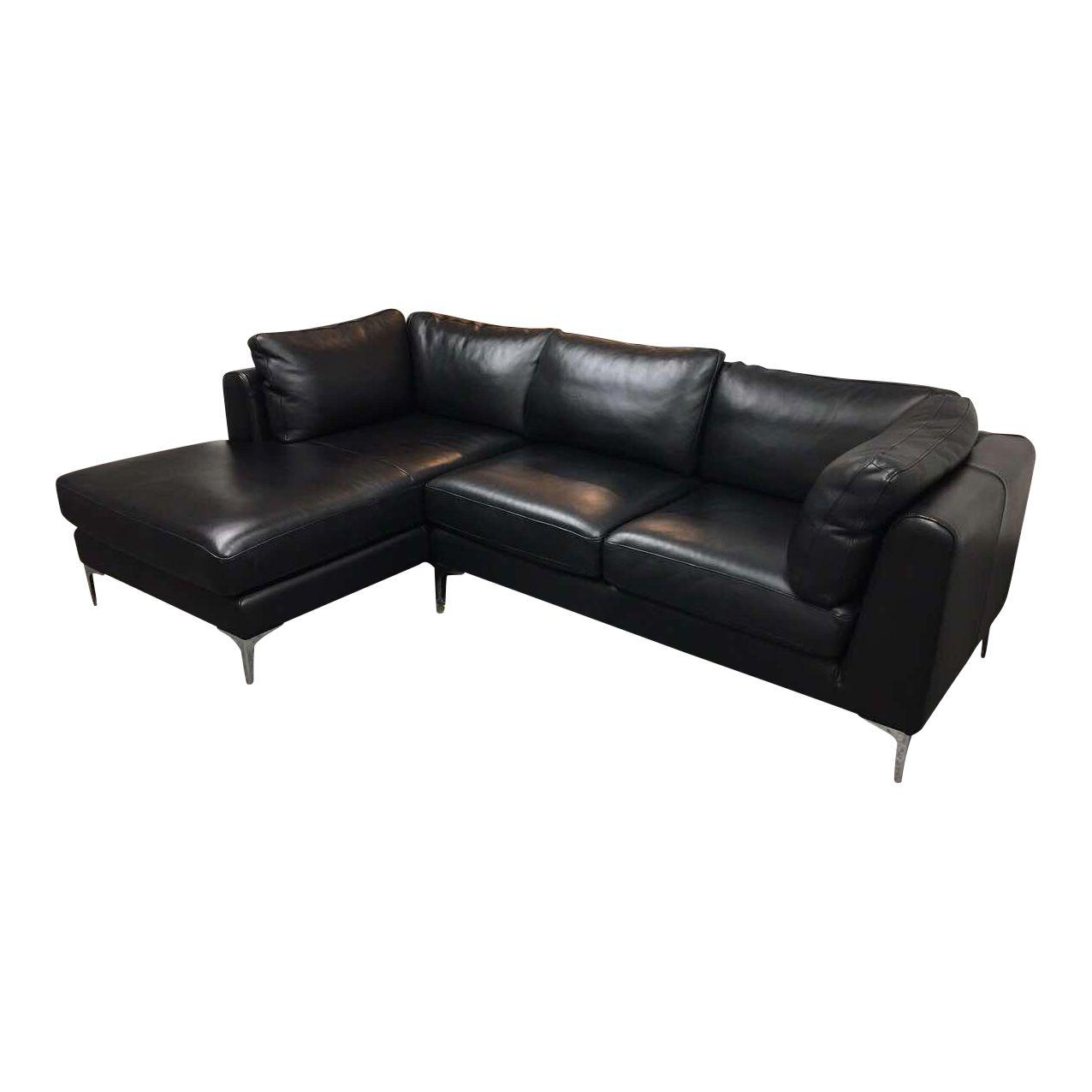 Design Within Reach Albert Black Leather Sectional Orig.Price: $6,130    Design Plus Gallery