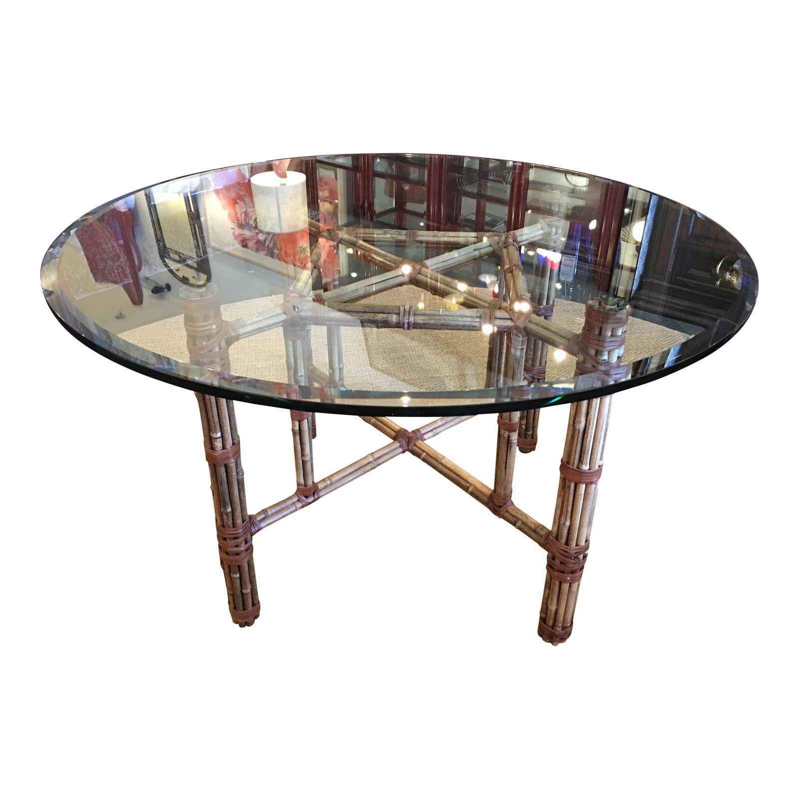 Bamboo Table With Design: McGuire Bamboo Base Dining Table