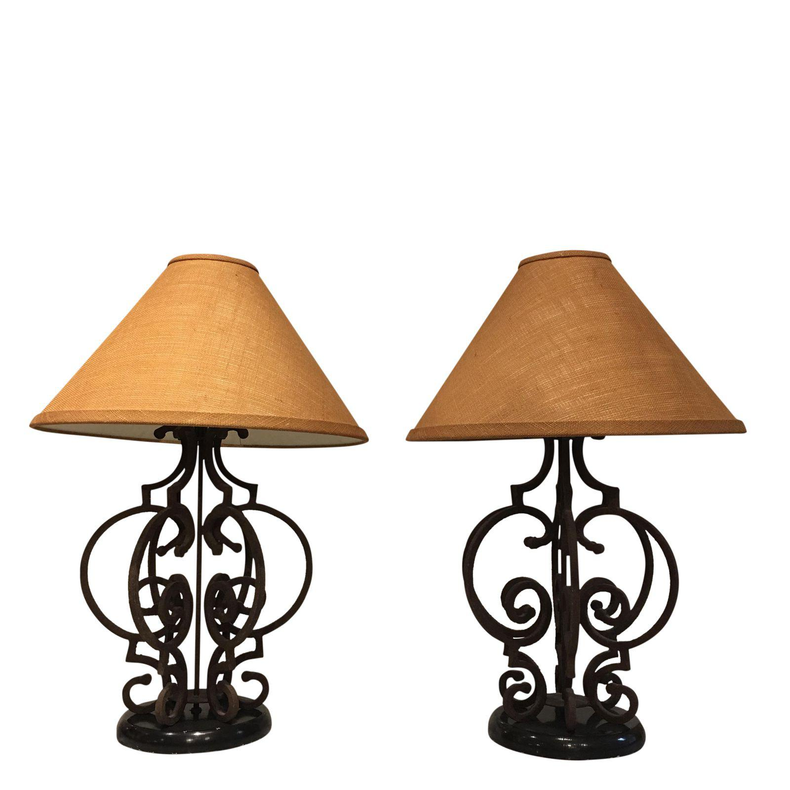 Rustic wrought iron table lamps lamp design ideas pair of ornate rustic wrought iron table lamps with burlap shades aloadofball Image collections