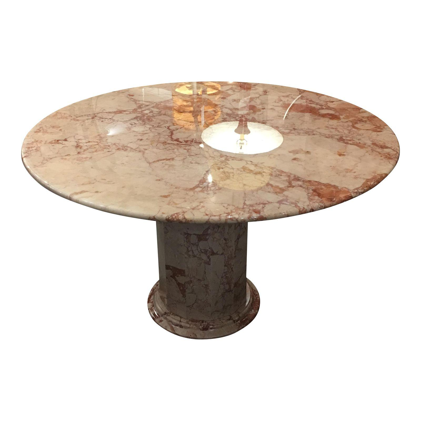 48″ Round Pink and Cream Marble Dining Table With Pink and ...