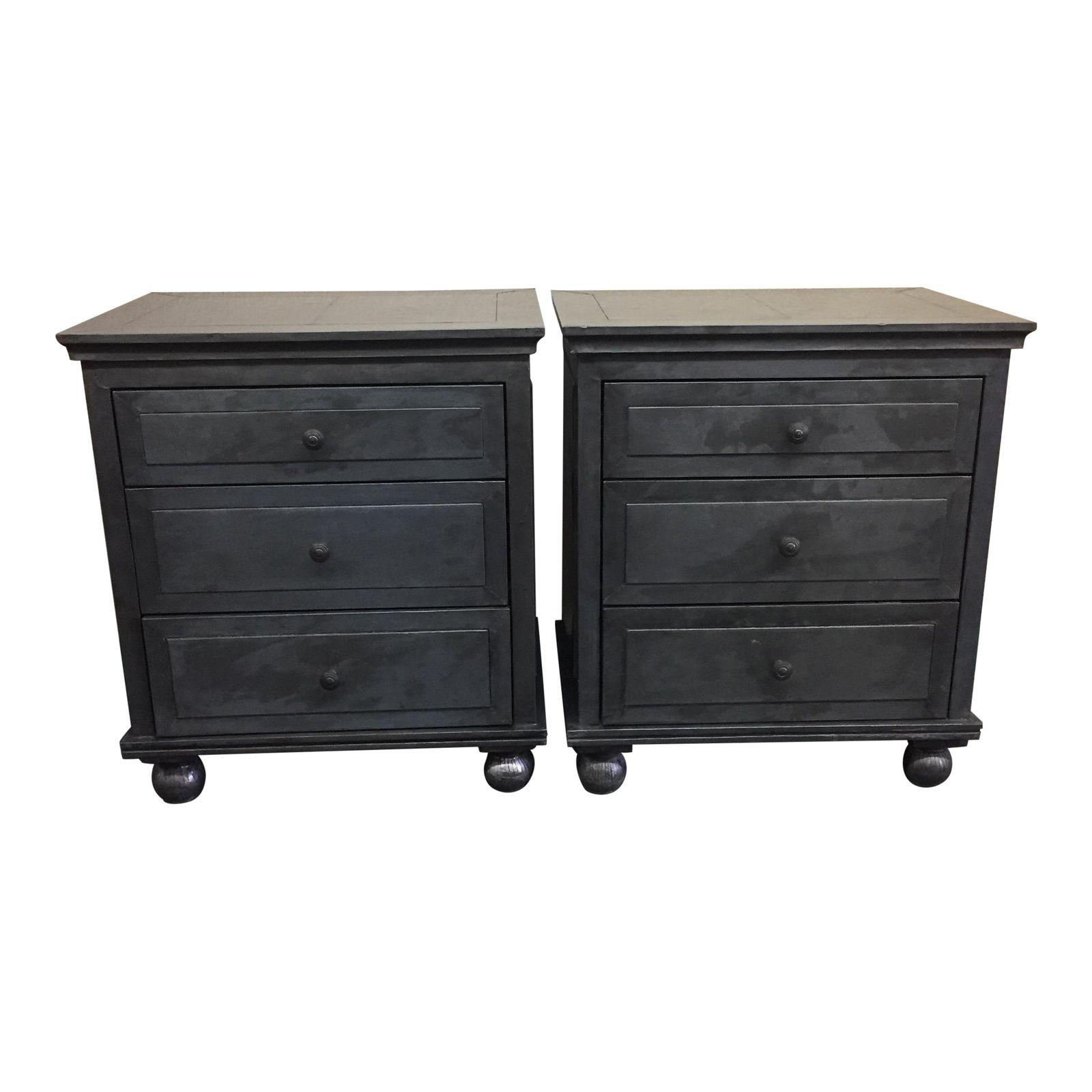 Restoration Hardware Zinc Wrapped Nightstands   A Pair   Design Plus Gallery