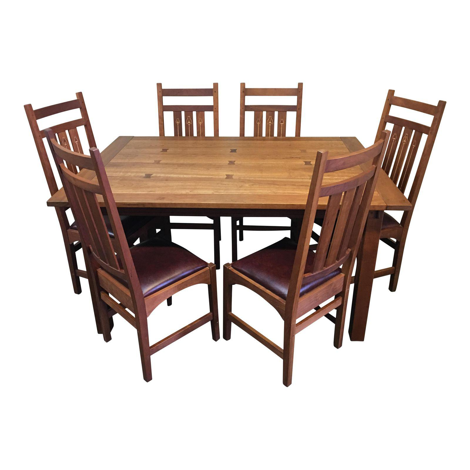 Dining Table Prices: Stickley Mission Dining Table + Six Ellis Chairs, A Set