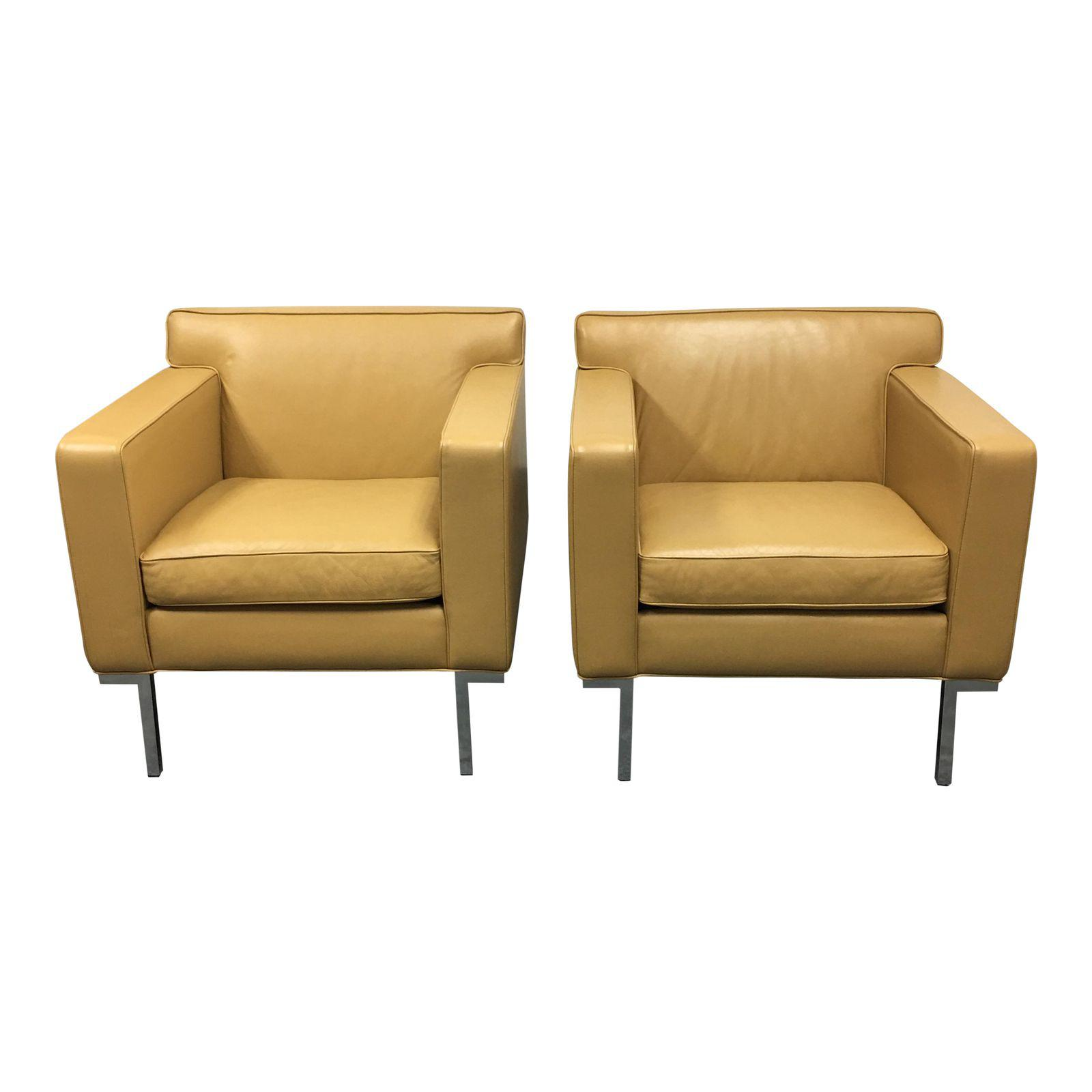 Pair Of Design Within Reach Theatre Leather Chairs