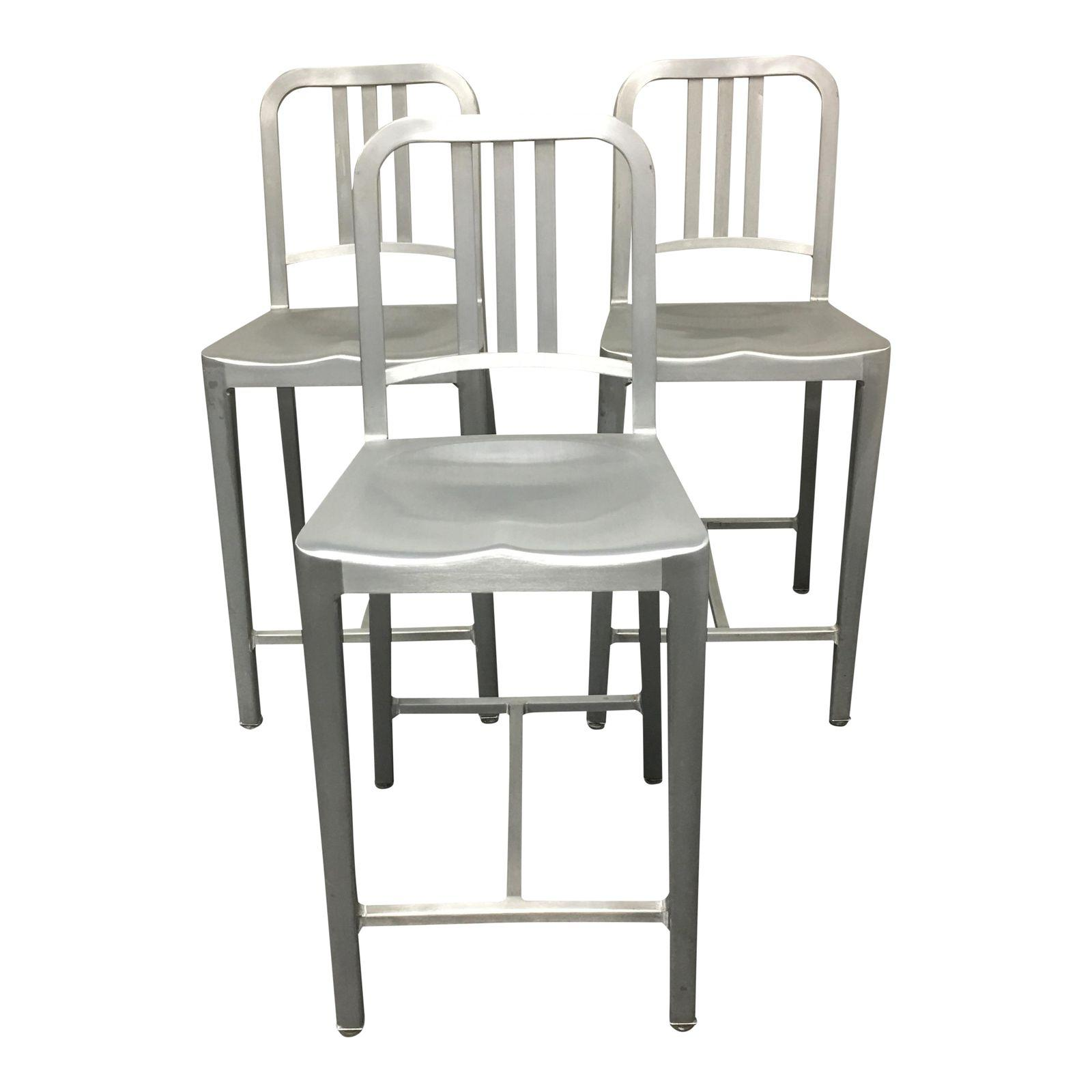 Awesome Set Of Three Emeco Aluminum Counter Stools From Dwr Caraccident5 Cool Chair Designs And Ideas Caraccident5Info