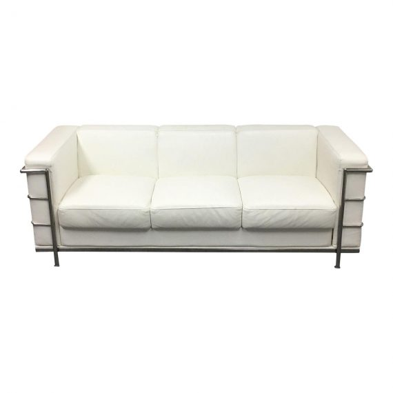 Zuo Modern Fortress Sofa In White Leather Match Design
