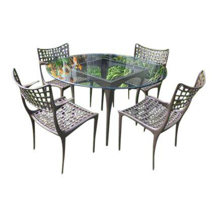 Brown Jordan Sol Y Luna Dining Table And Four Armchairs, A Set. Original  Price: $4,575.00