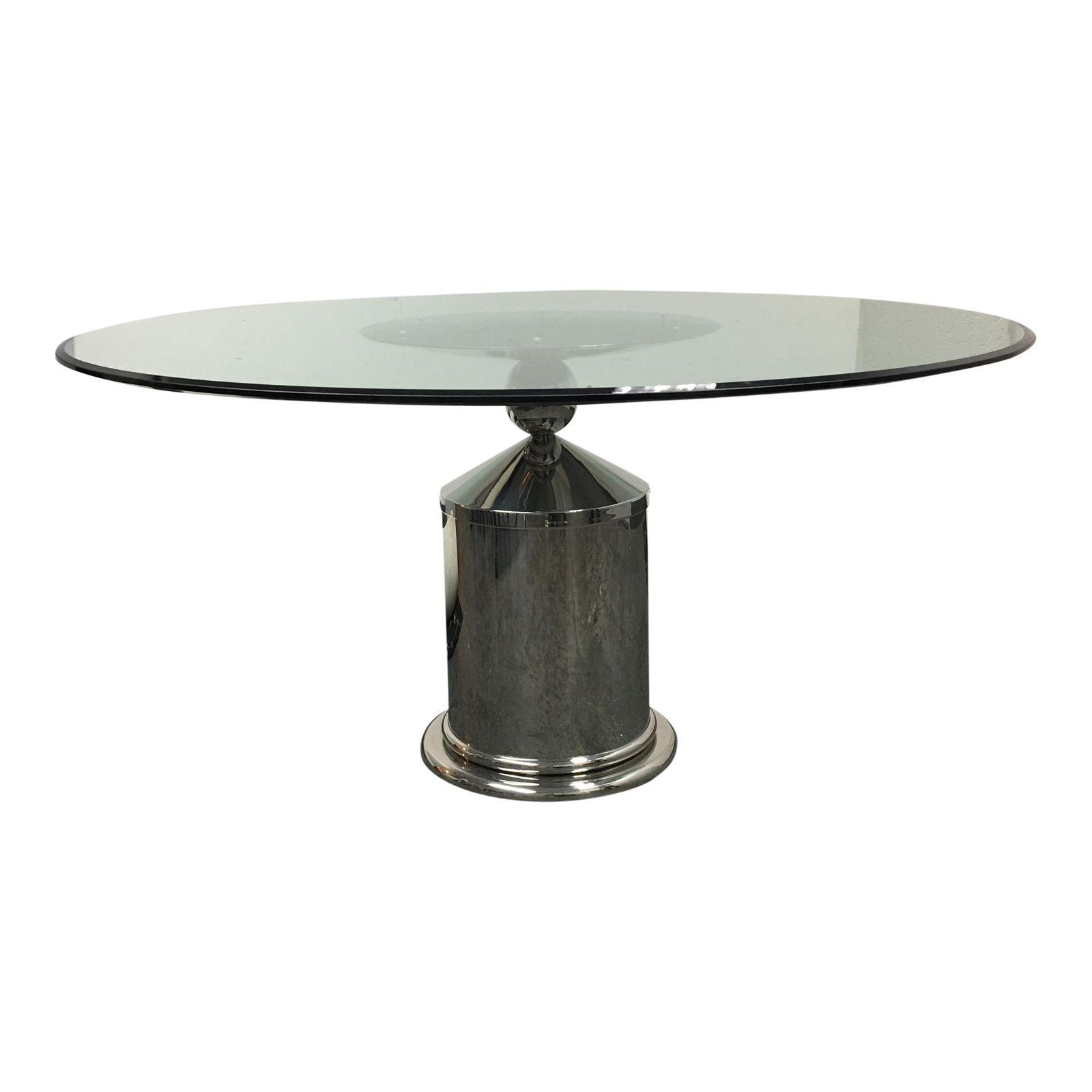 glass top dining table with chrome base design plus gallery. Black Bedroom Furniture Sets. Home Design Ideas