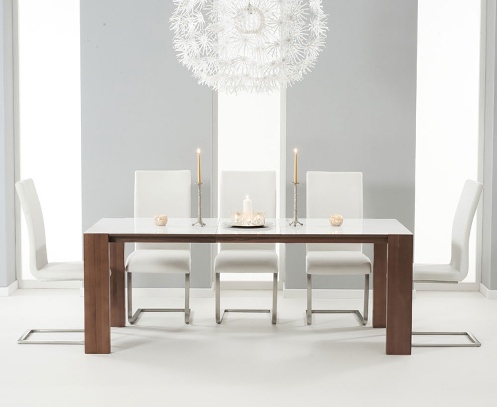 Simone Walnut And White Gloss Extending Dining Table  With Walnut Extension Panel 7