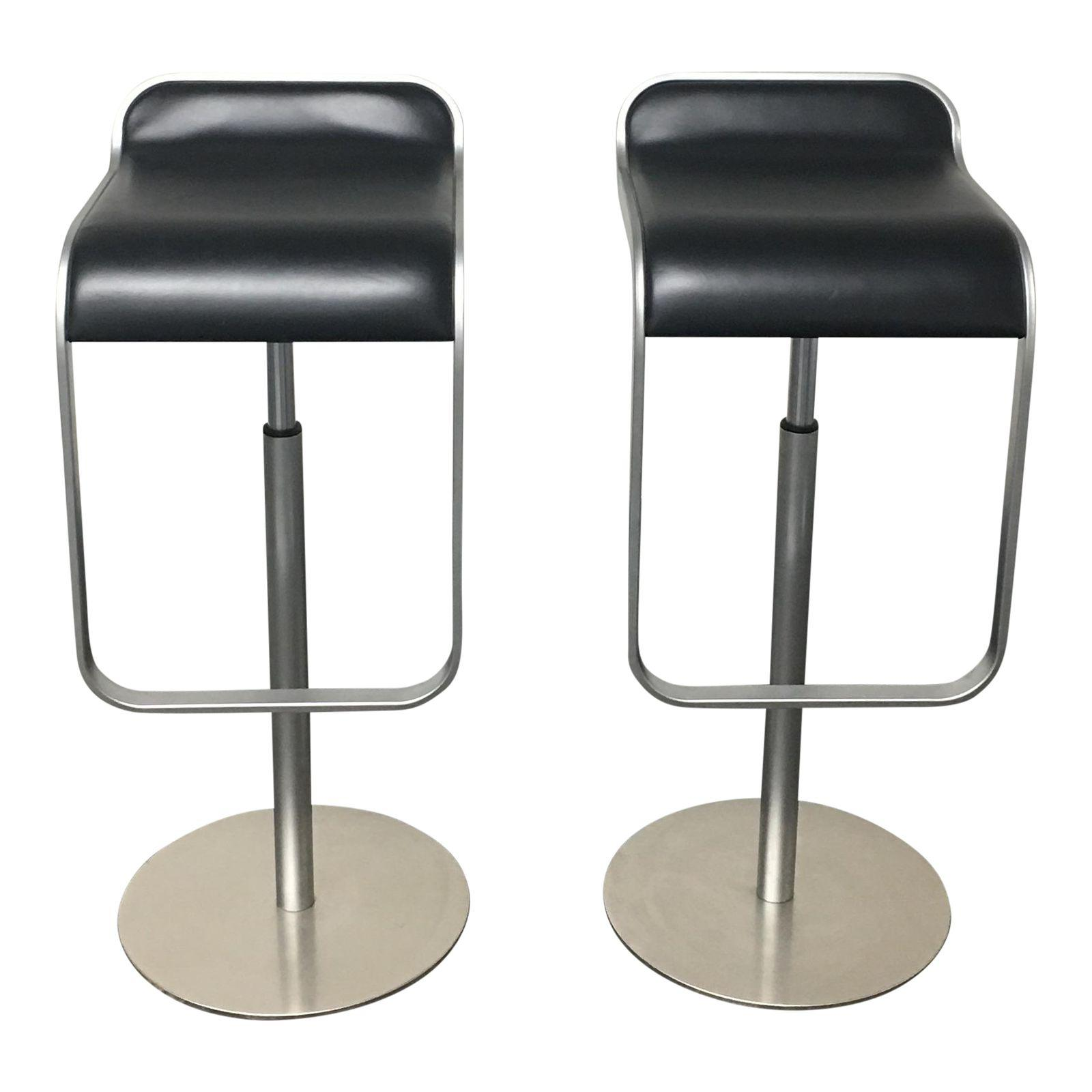 Dwr Lem Piston Stools With Black Leather Seats A Pair