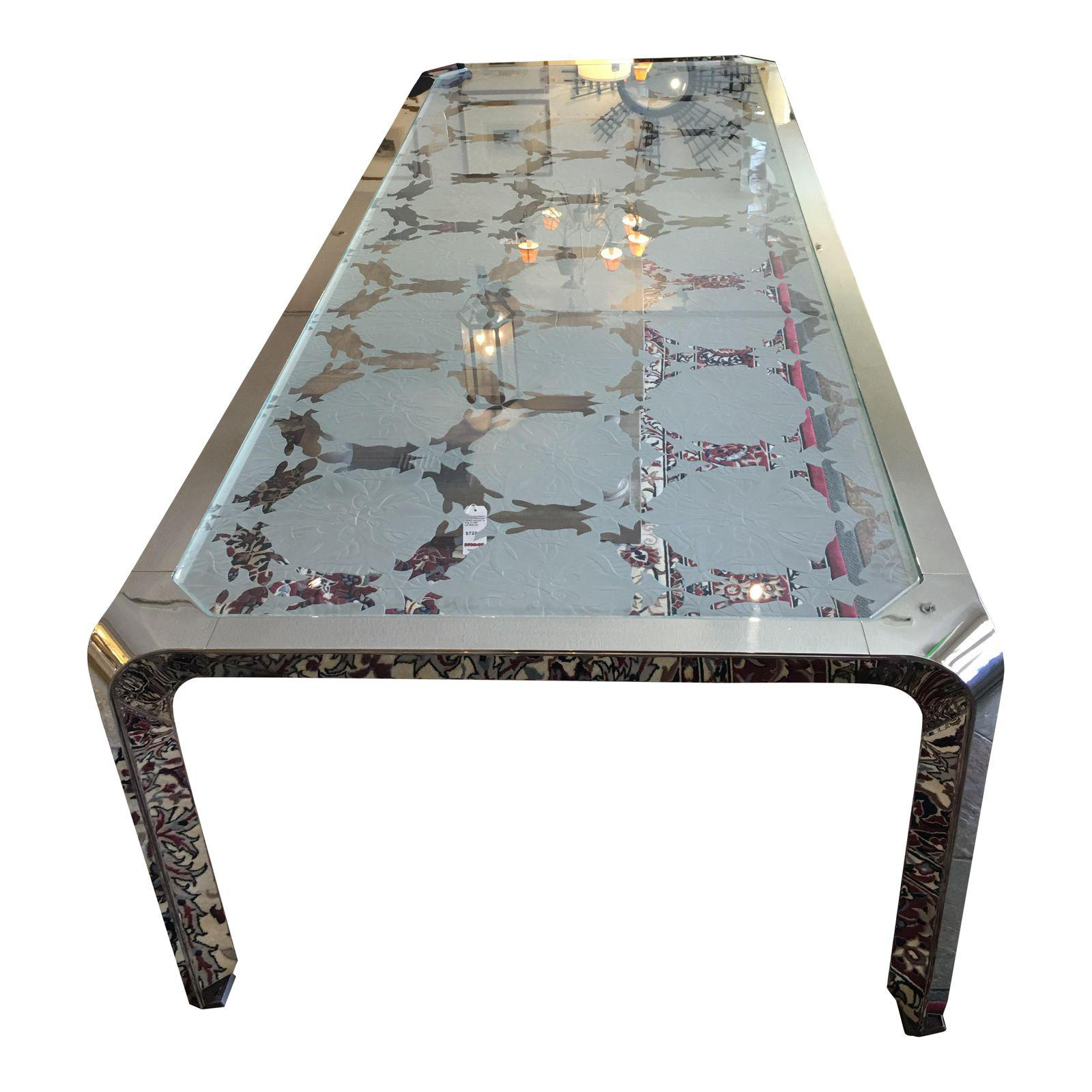 XL Custom Etched Glass Chrome DiningConference Table Original - Custom glass conference table