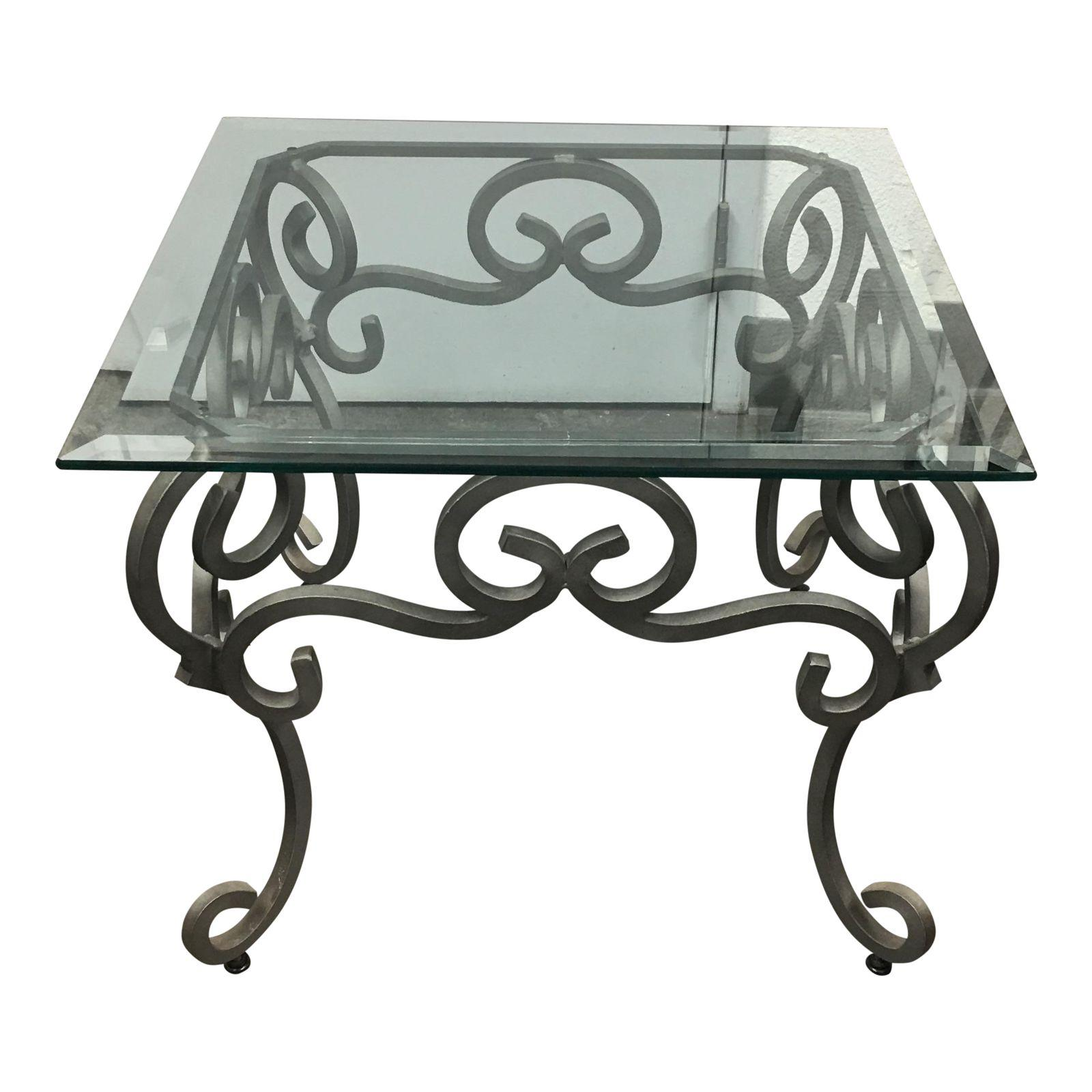 Ornate Iron Base Side Table With Glass Top Design Plus Gallery