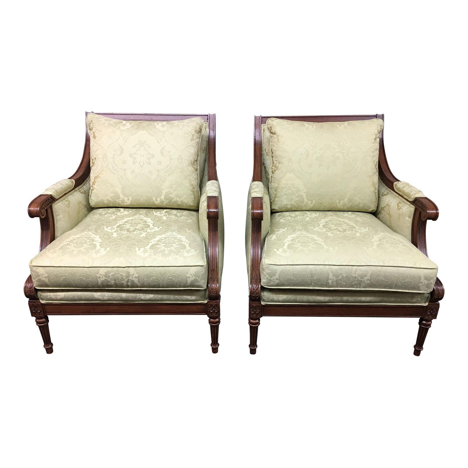 Ethan Allen Fairfax Arm Chairs, A Pair. Original Price: $3,200.00