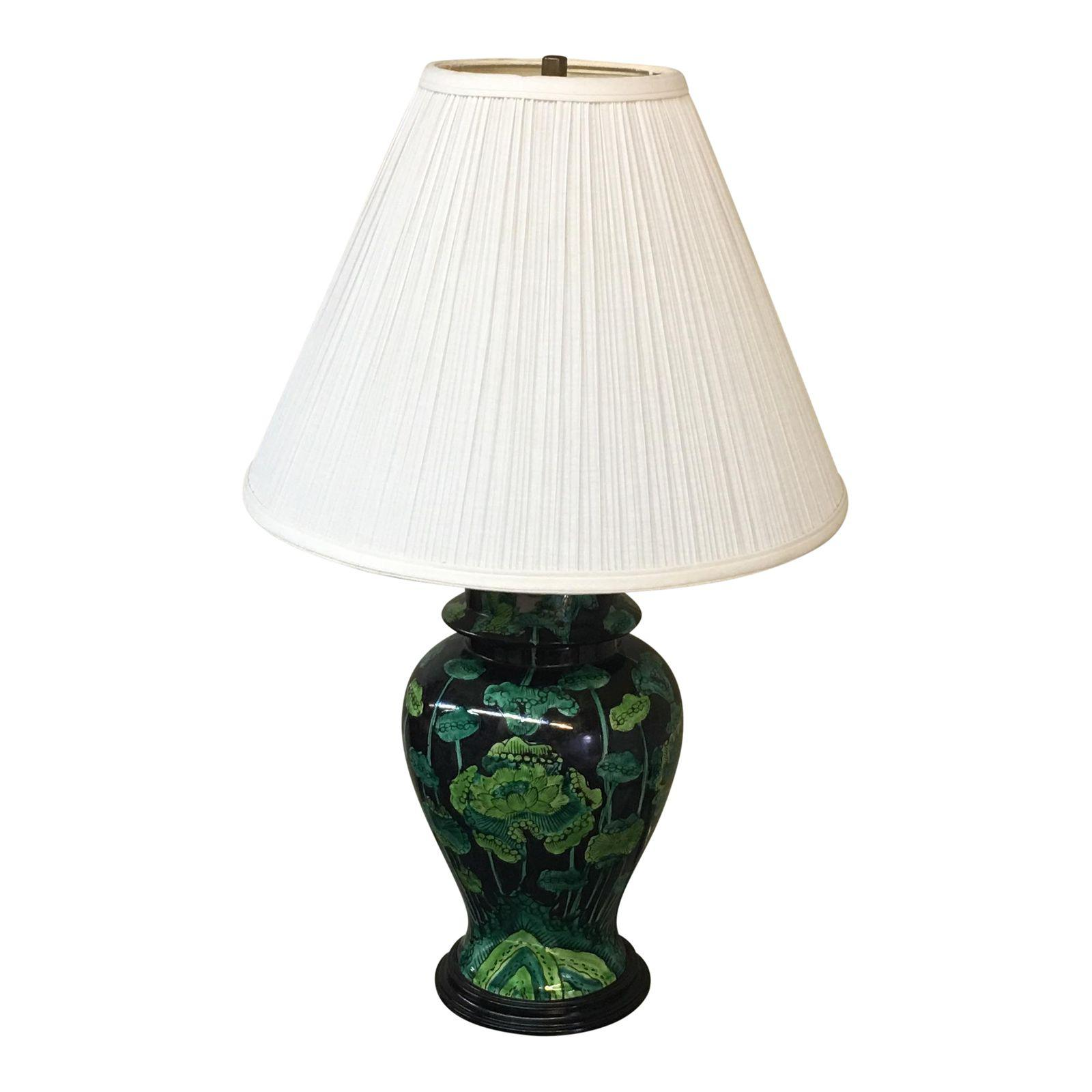 Hand Painted Ginger Jar Table Lamp Black Green Design Plus Gallery