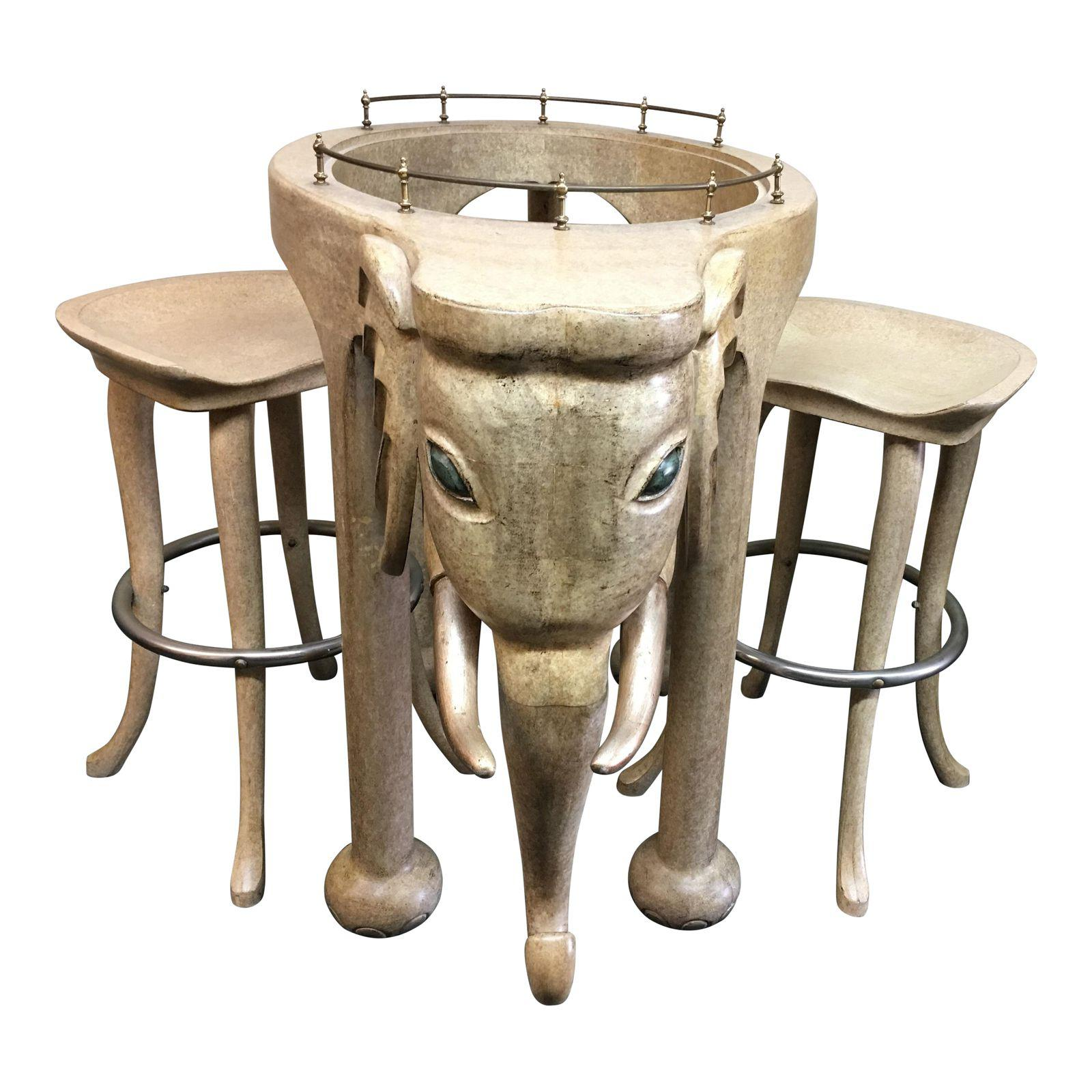 Marge Carson Elephant Bar & Stools - Set of 3. Original Price ...