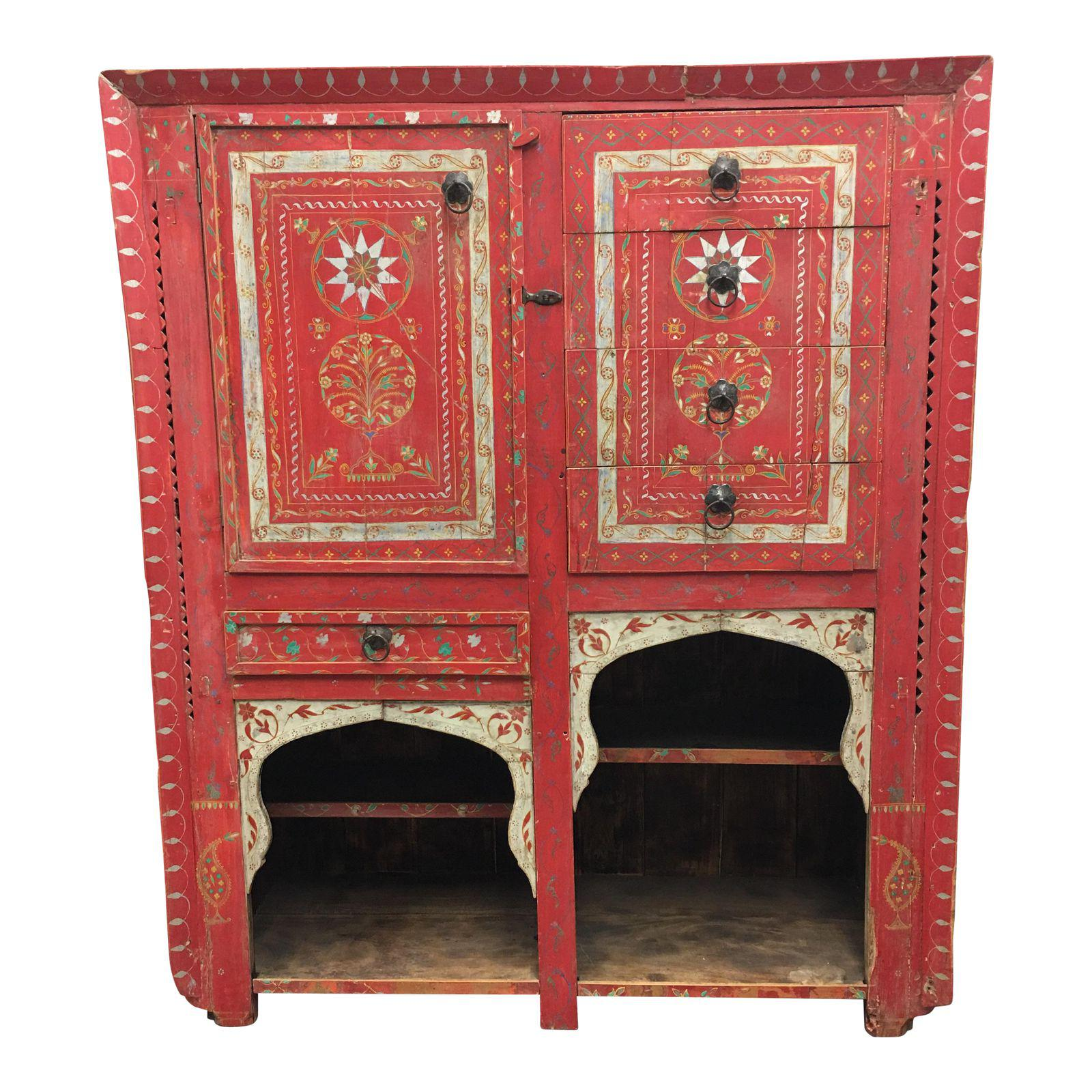 vintage hand painted moroccan armoire design plus gallery. Black Bedroom Furniture Sets. Home Design Ideas