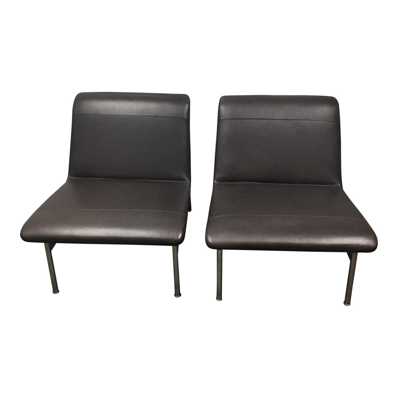 new bernhardt cp2 leather chrome lounge chairs a pair original
