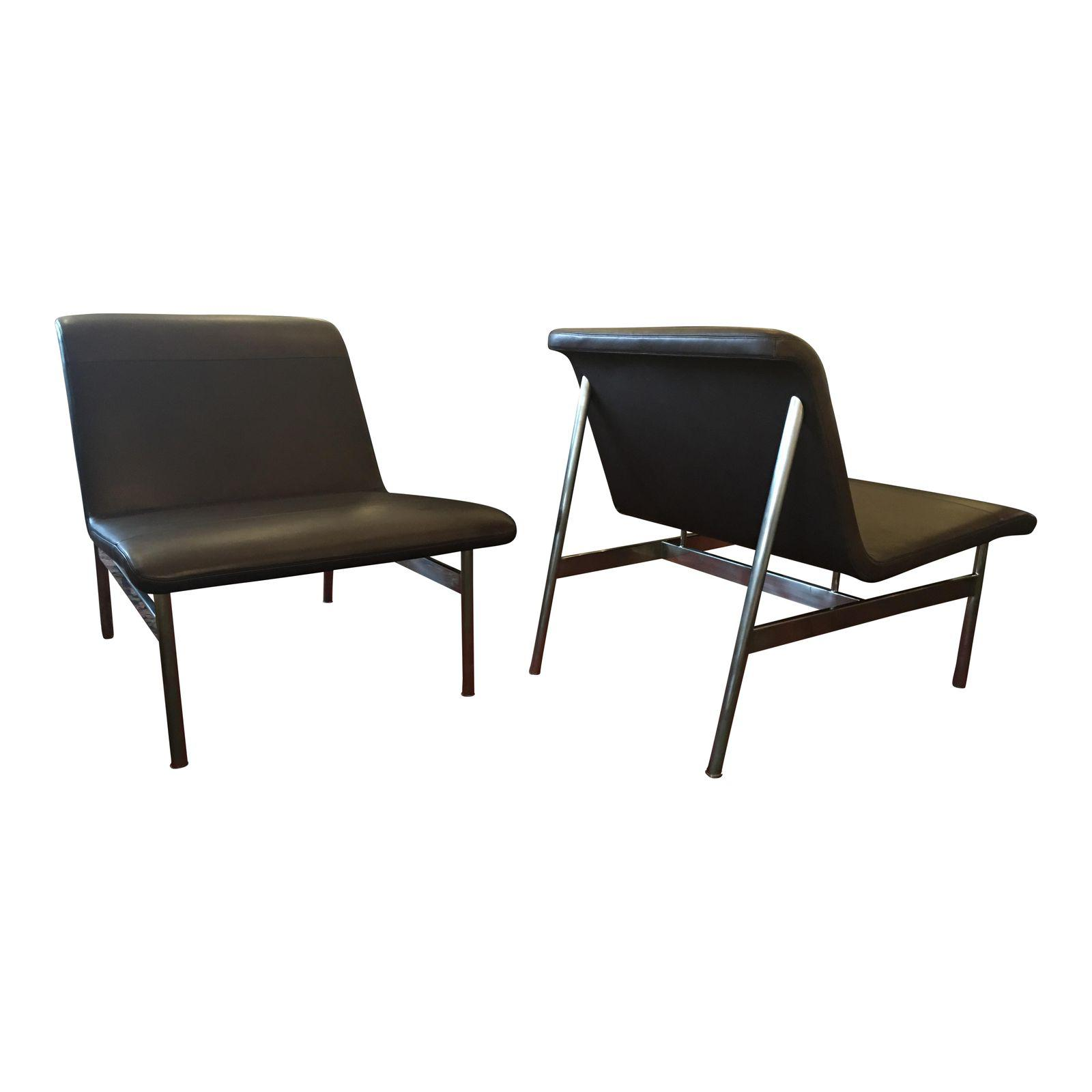 NEW Bernhardt CP2 Leather + Chrome Lounge Chairs, A Pair. Original Price:  $4,890.00   Design Plus Gallery
