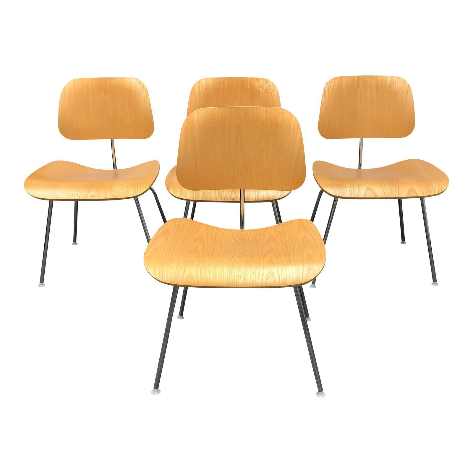 herman miller eames molded plywood dining chairs set of 4 - Dining Chairs Set Of 4