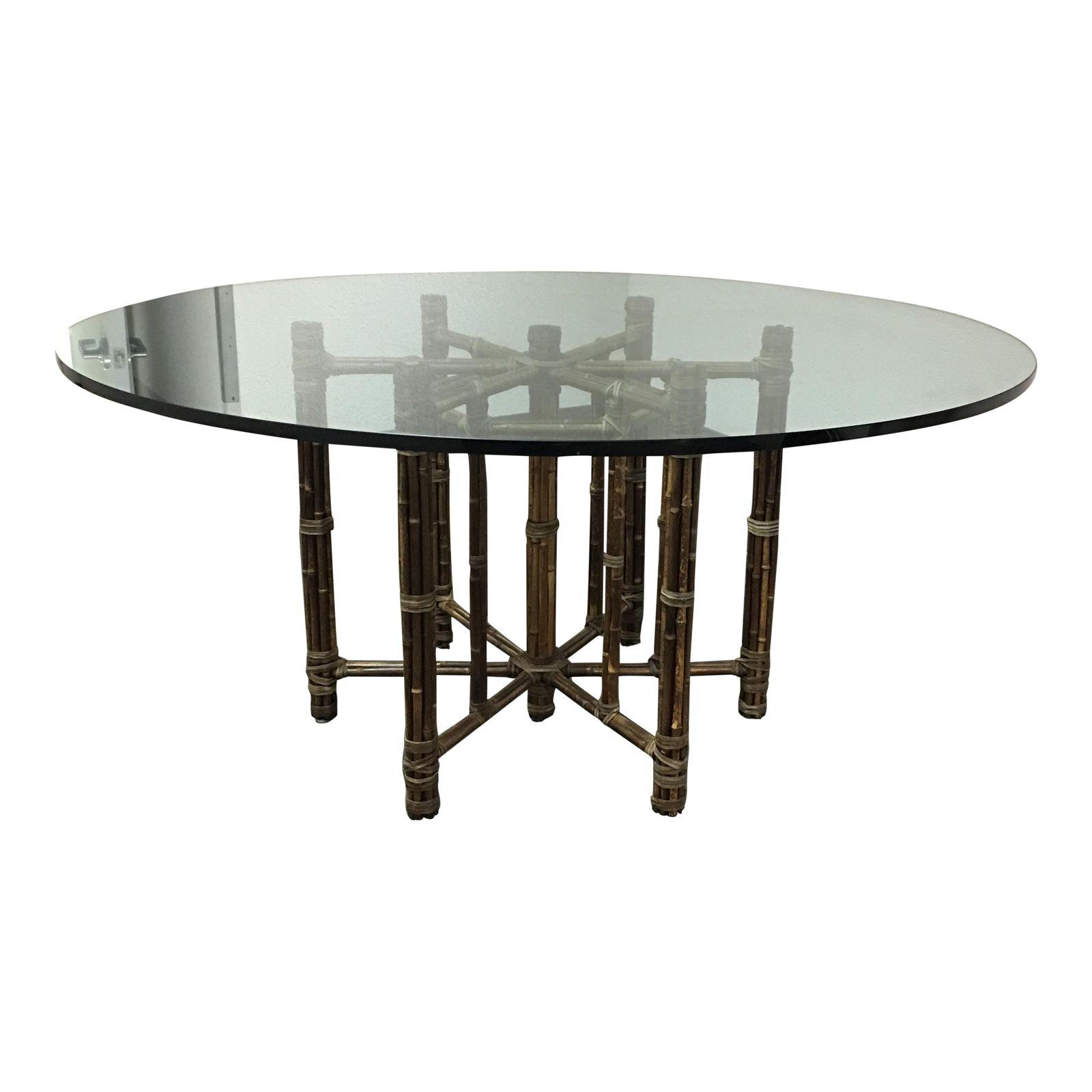 Bamboo Table With Design: McGuire Dining Table With Bamboo Base + Glass Top