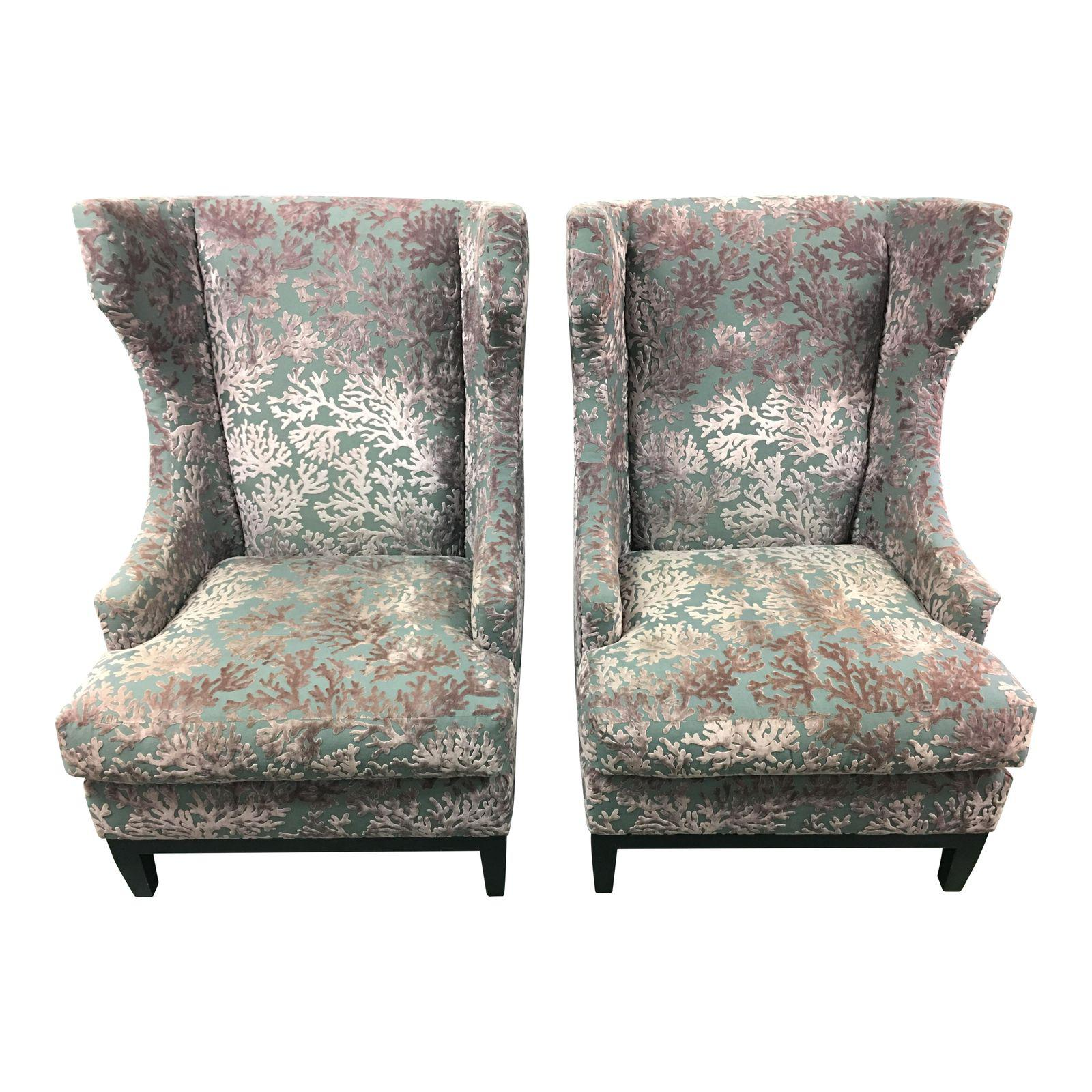 Pair of Bernhardt Contemporary Wing Back Chairs Design Plus Gallery