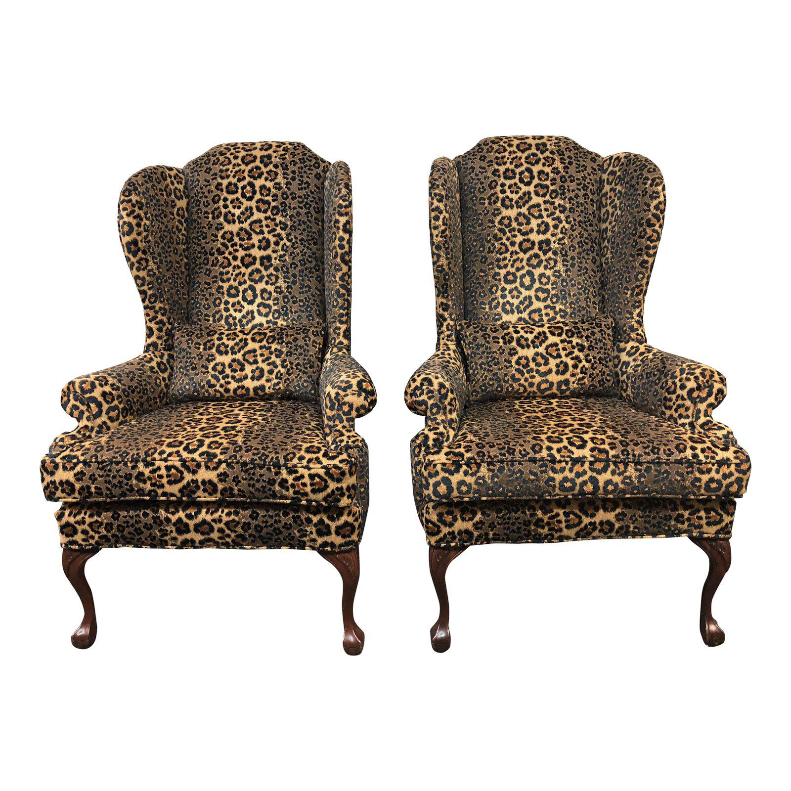 Pair of Custom Leopard Wingback Chairs Design Plus Gallery