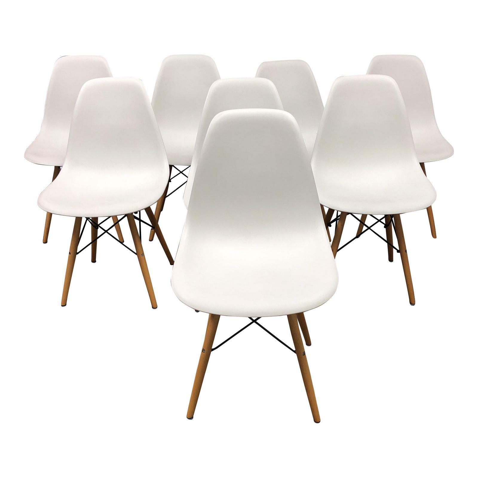 Eames Style White Molded Eiffel Chairs Set of 8 Design Plus