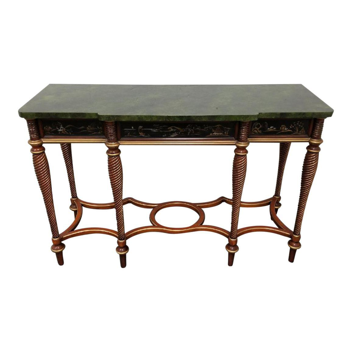 John Widdocomb Green Faux Marble Console Table From The Mario Buatta  Collection   Design Plus Gallery