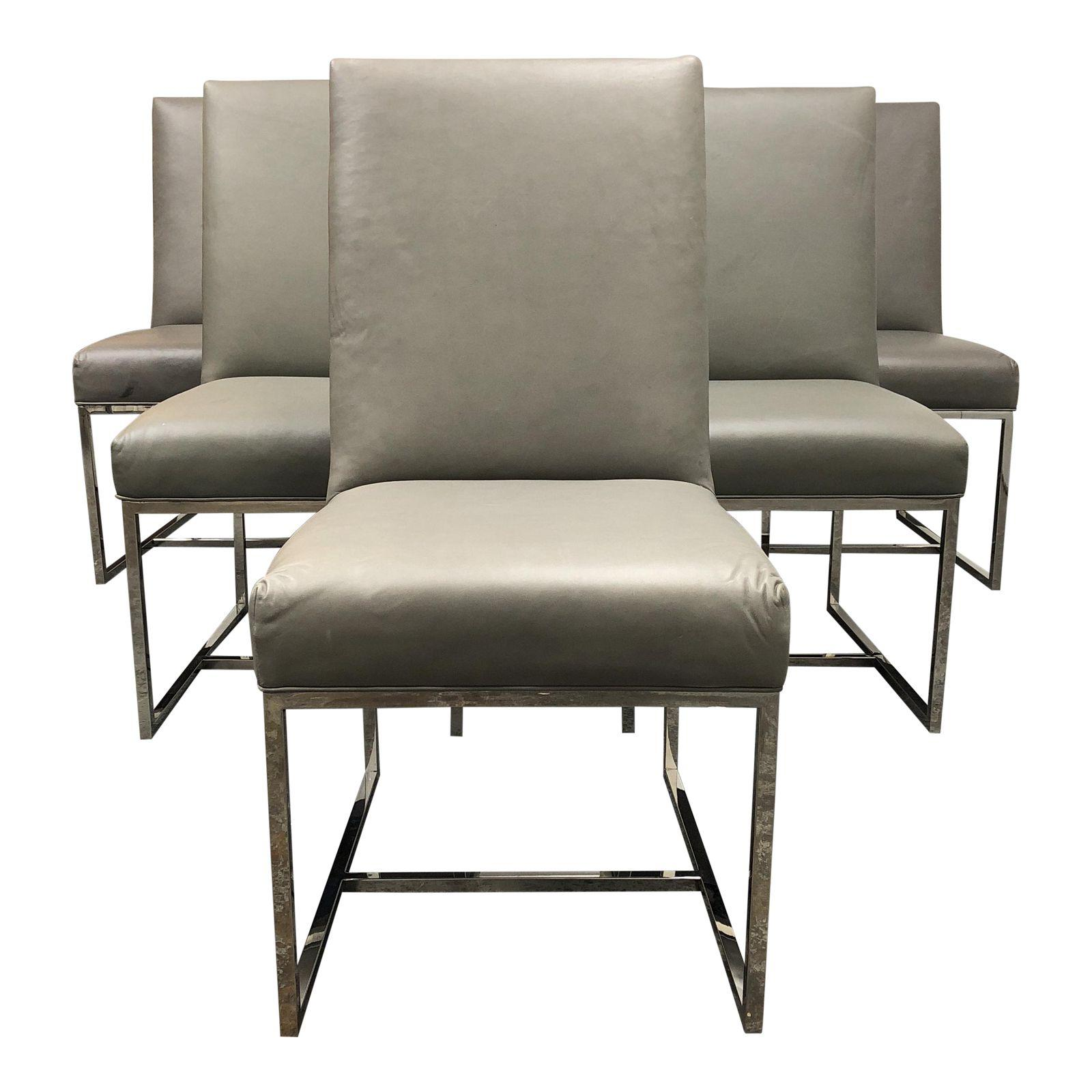 Restoration Hardware Grant Leather Chairs Set Of 6