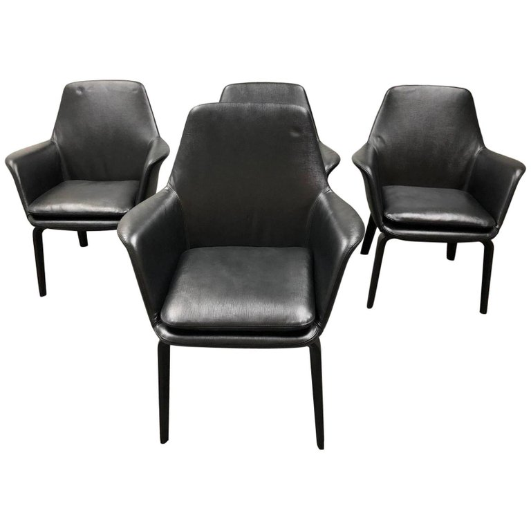 Minotti Set Of Four York Lounge Leather Armchairs. Original Price:  $15,200.00   Design Plus Gallery