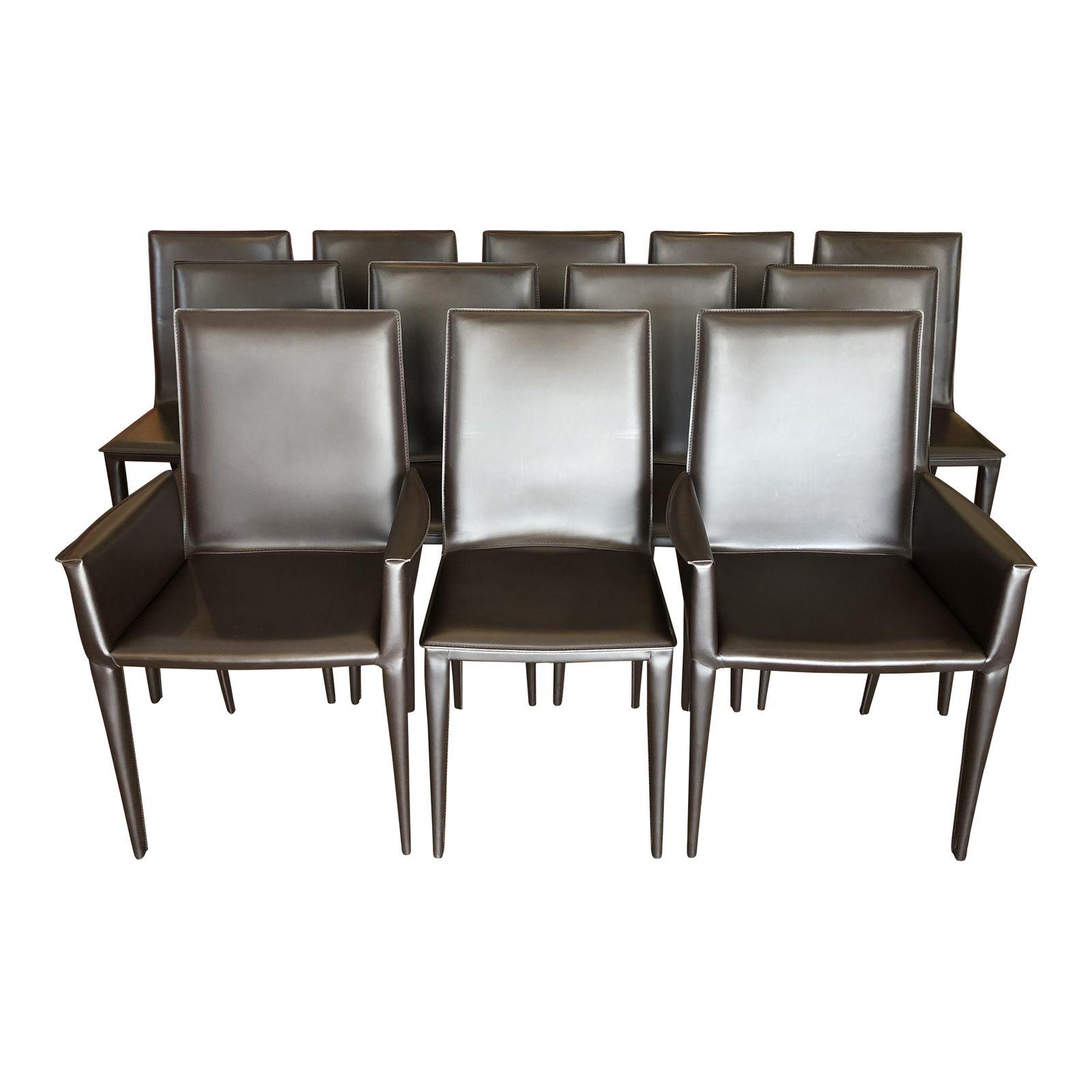 Design Within Reach Bottega Leather Dining Chairs - Set of 12 ...