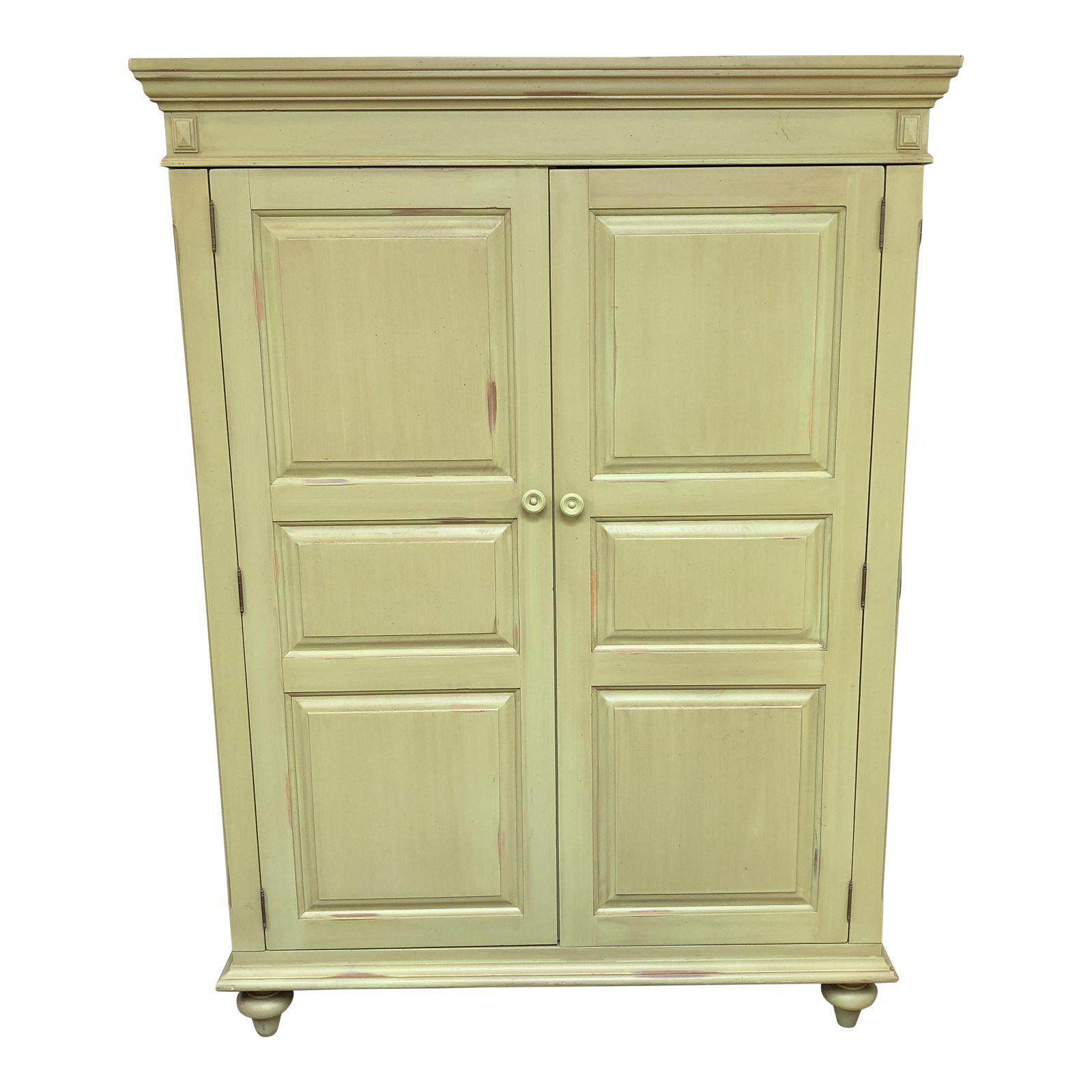 Merveilleux Distressed Green Painted Wood Computer Armoire