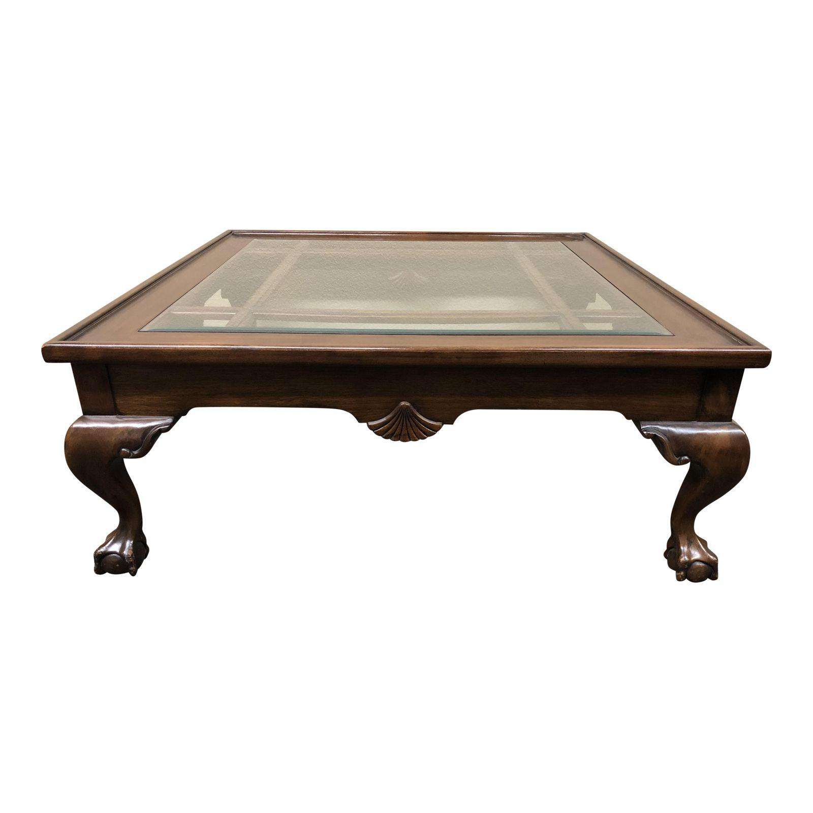 Square wood glass insert coffee table design plus gallery for Wood coffee table with glass insert