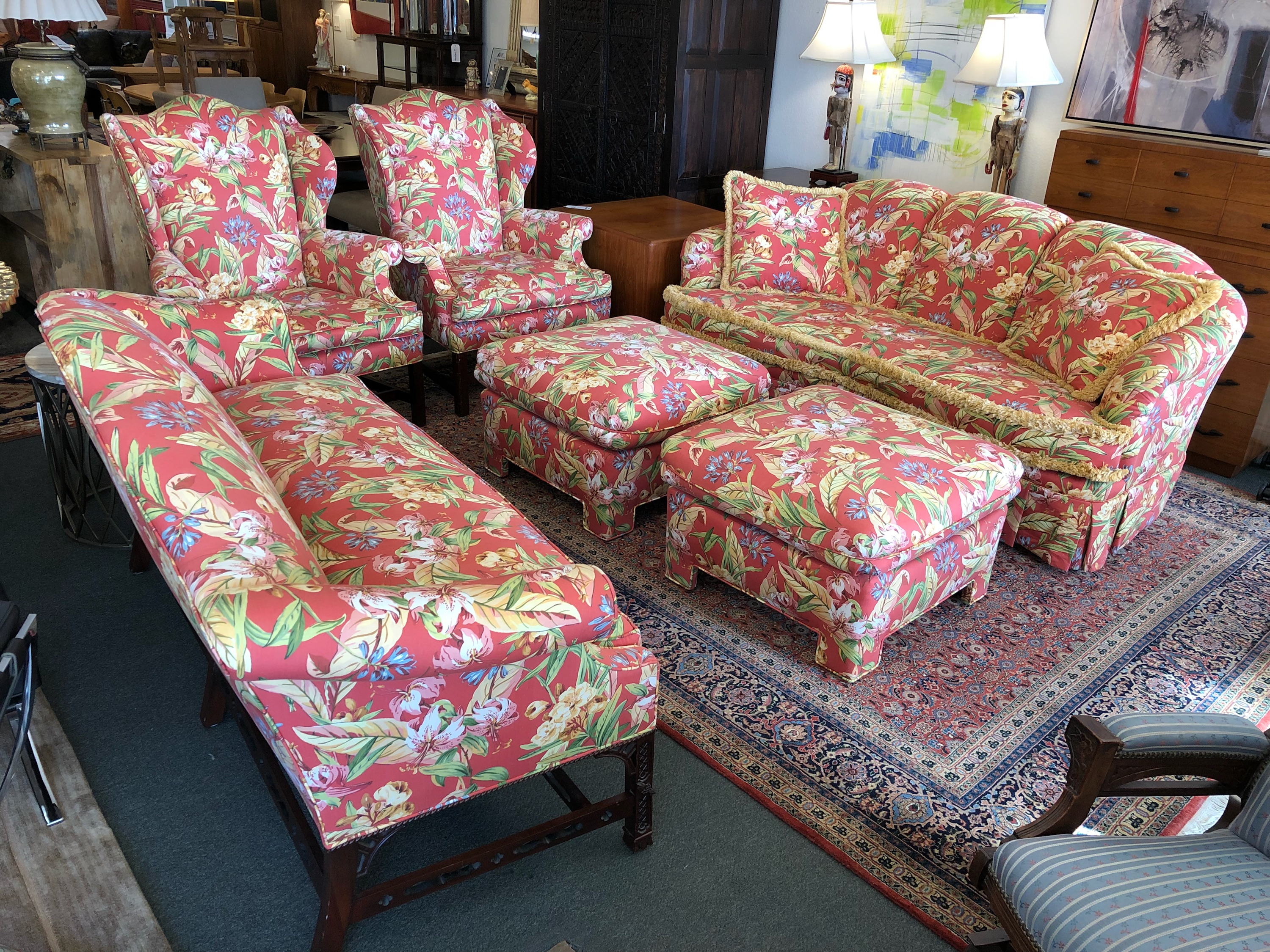 Camel Back Sofa In Floral Fabric Design Plus Gallery