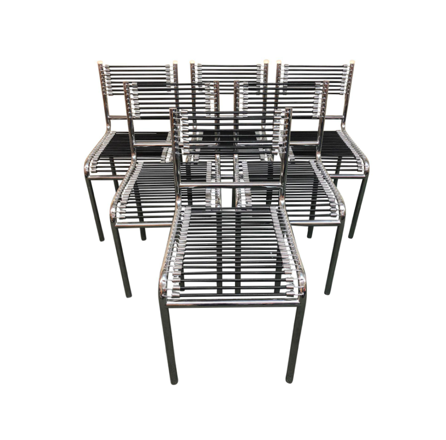 Set Of Six Rene Herbst Bungee Chrome Dining Chairs Original 3 600 00 Design Plus Gallery