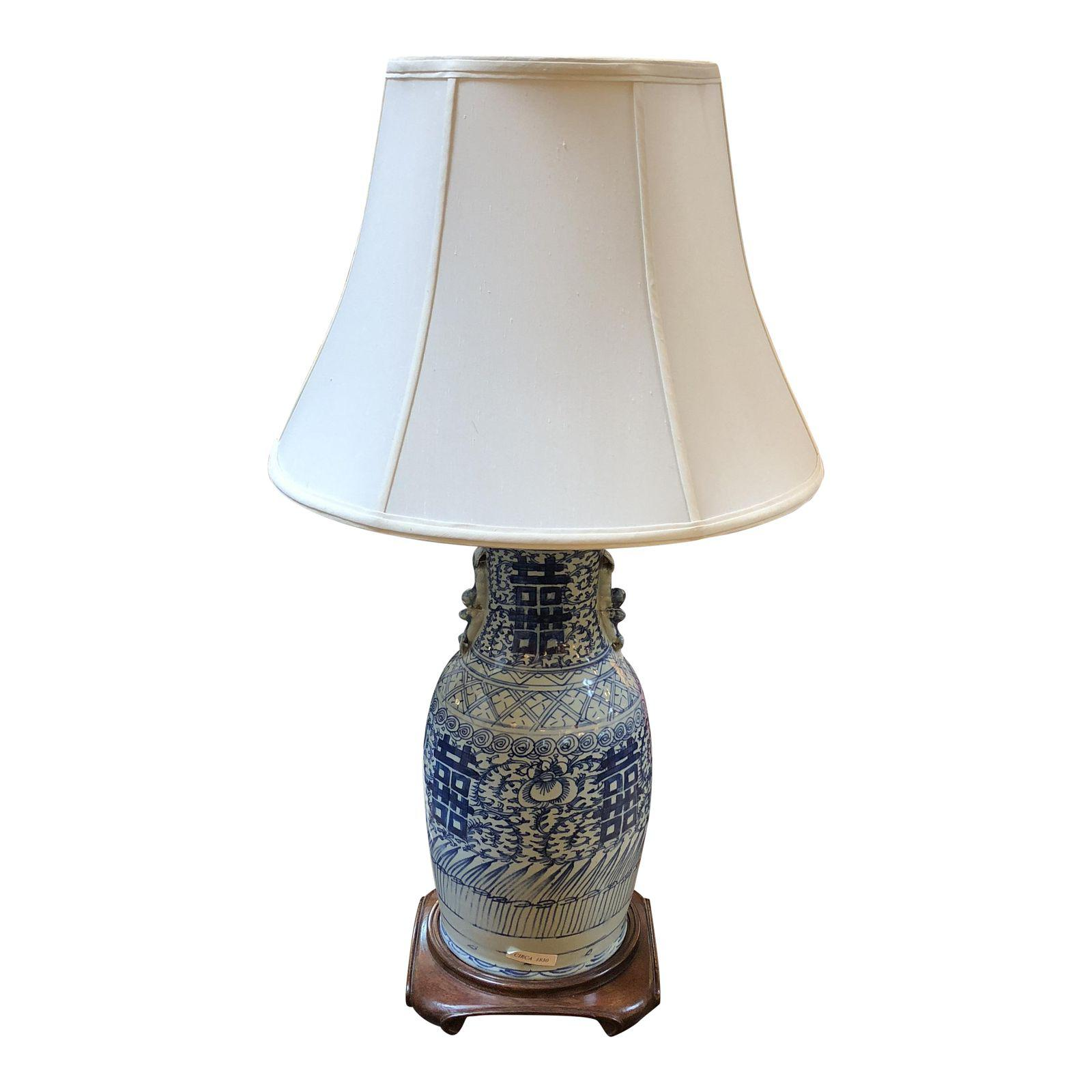 Antique chinese blue white table lamp design plus gallery aloadofball Images
