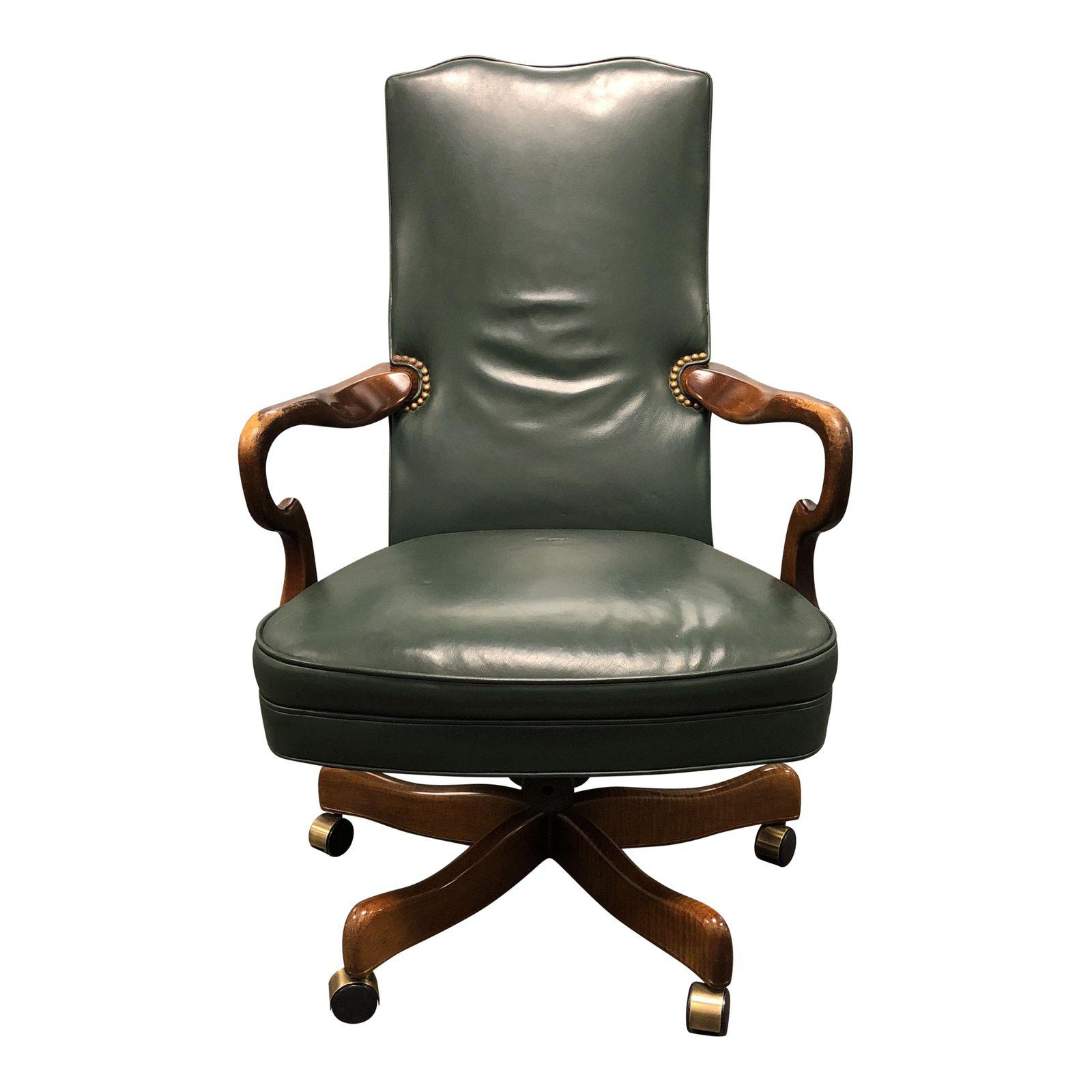 green leather wood swivel office chair design plus gallery. Black Bedroom Furniture Sets. Home Design Ideas