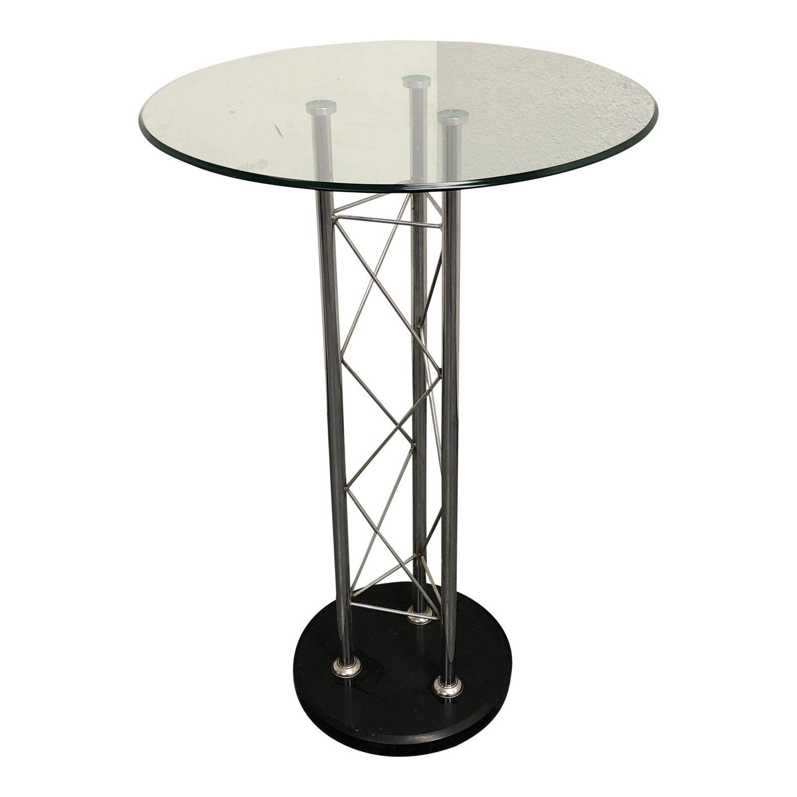 Bon Modern Round Bar Height Glass Top Table. SOLD!