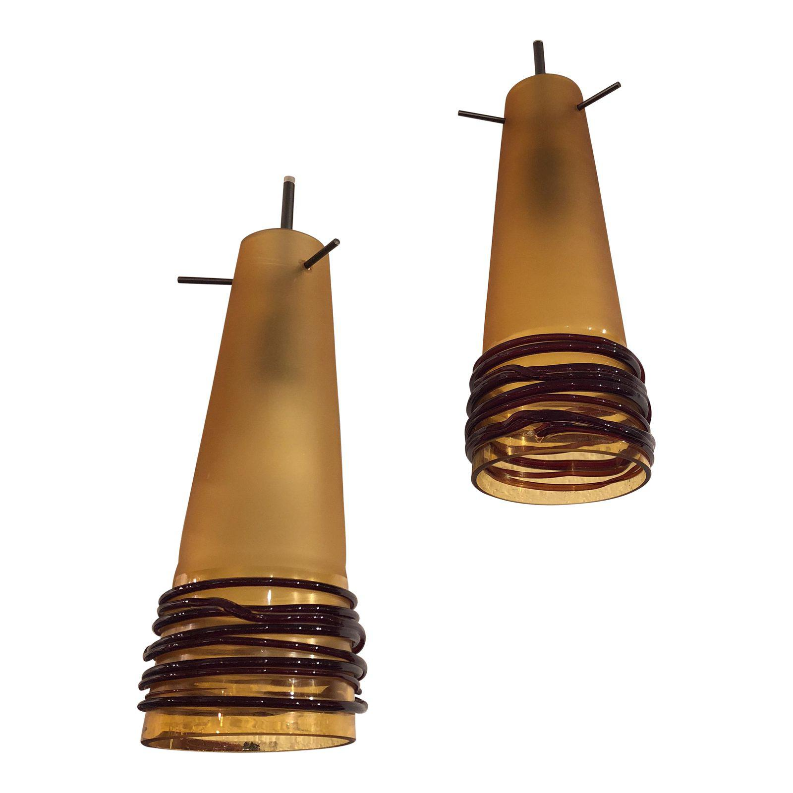 Oggetti luce hand blown glass pendant lights a pair design plus oggetti luce hand blown glass pendant lights a pair design plus gallery aloadofball Images